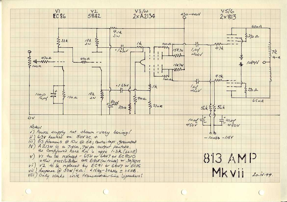 An 813 Amplifier Push Pull Schematic Colour Diagram